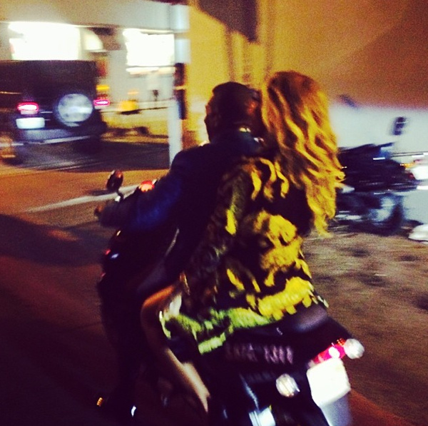 Beyonce and Jay Z arrive at Diddy's party via motorcycle