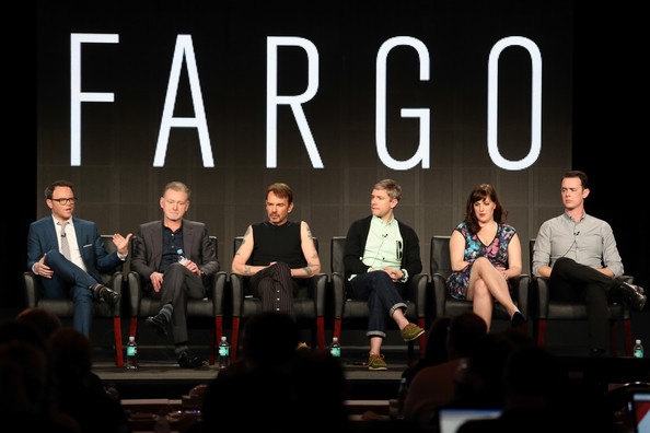 (L-R) Noah Hawley, Executive Producer/Writer, Warren Littlefield, Executive Producer, actors Billy Bob Thornton, Martin Freeman, Allison Tolman and Colin Hanks of the television show 'Fargo' onstage during the FX portion of the 2014 Television Critics Association Press Tour at the Langham Hotel on January 14, 2014 in Pasadena, California.