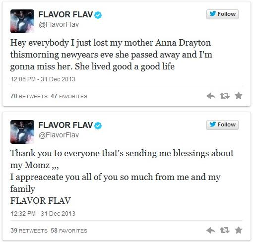 flavor flav tweets about mom's death