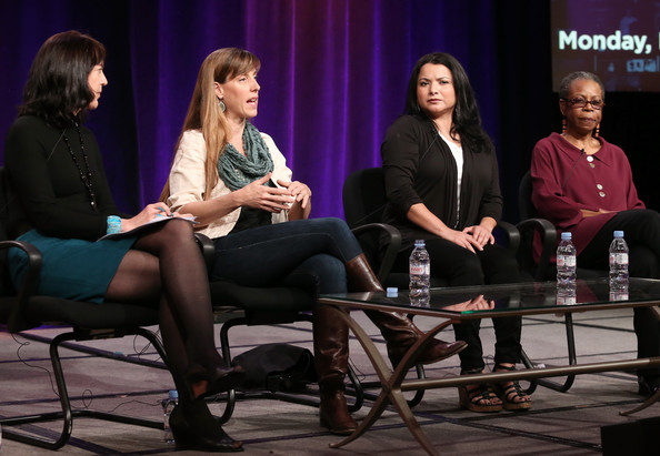 "(L-R) Series Producer Lois Vossen, filmmaker Samantha Grant, Macarena Hernandez and writer/author Lena Williams speak onstage during the ' Independent Lens/""A Fragile Trust"" 'panel discussion at the PBS portion of the 2014 Winter Television Critics Association tour at Langham Hotel on January 21, 2014 in Pasadena, California"