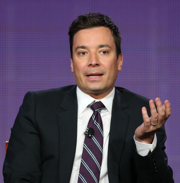 "Host Jimmy Fallon of the television show ""The Tonight Show Starring Jimmy Fallon"" speaks during the NBC portion of the 2014 Television Critics Association Press Tour at the Langham Hotel on January 19, 2014 in Pasadena, California"