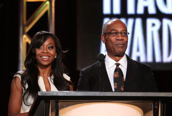 Actors Bresha Webb and Joe Morton speak onstage during the 'The 45th Annual NAACP Image Awards' nominations announcement at the TV One portion of the 2014 Winter Television Critics Association tour at the Langham Hotel on January 9, 2014 in Pasadena, California