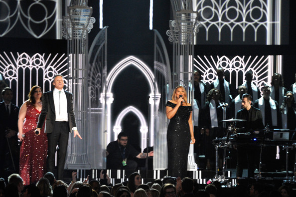 (L-R) Singer Mary Lambert, rapper Macklemore, singer/actress Queen Latifah, and musician Ryan Lewis perform onstage during the 56th GRAMMY Awards at Staples Center on January 26, 2014 in Los Angeles