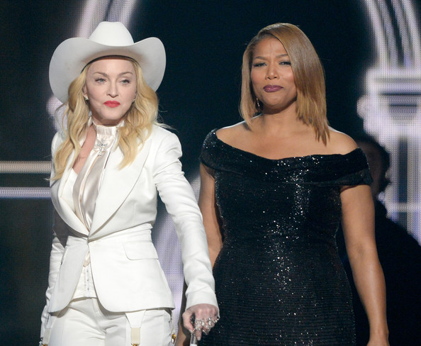 Recording artists Madonna (L) and Queen Latifah perform onstage during the 56th GRAMMY Awards at Staples Center on January 26, 2014 in Los Angeles, California