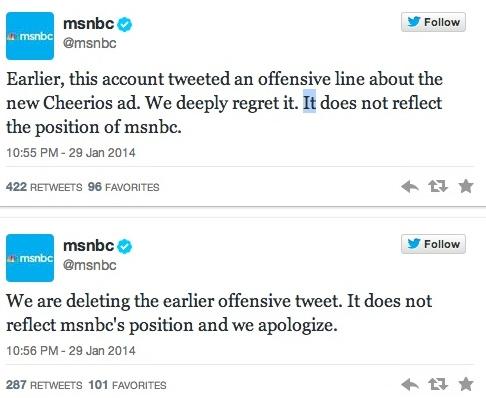 msnbc apology tweets cheerios
