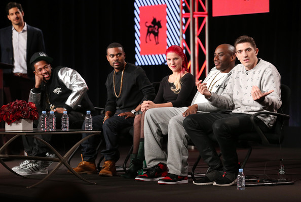 (L-R) Nick Cannon, Lil Duval, Carly Aquilino, Charlamagne and Andrew Schulz speak onstage during the 'MTV2 - Comedy Panel' discussion at the Viacom portion of the 2014 Winter Television Critics Association tour at the Langham Hotel on January 10, 2014 in Pasadena, California