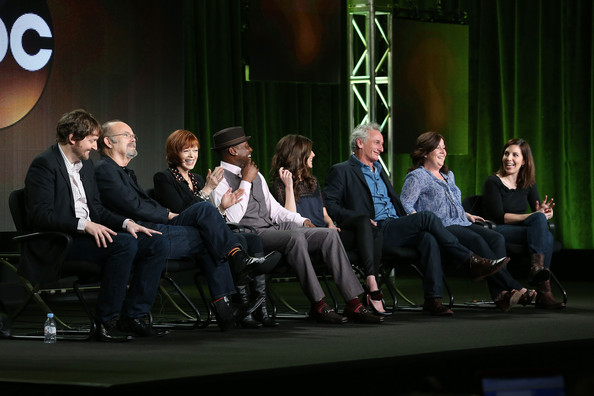 (L-R) Executive Producers Aaron Zelman, actors Kurtwood Smith, Frances Fisher, Omar Epps, Devin Kelly, Matt Craven, Executive Producers Tara Butters and Michele Fazekas of the television show 'Resurrection' speak onstage during the Disney ABC Television Group portion of the 2014 Winter Television Critics Association press tour at the Langham Hotel on January 17, 2014 in Pasadena, California