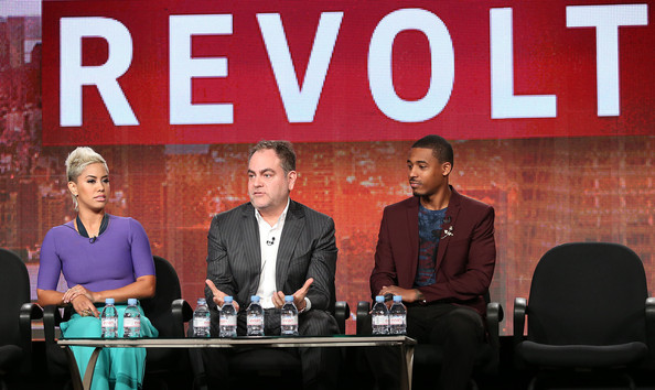 (L-R) Sibley Scoles, Andy Schoun, and DJ Damage attend the Revolt Network portion of the 2014 Winter Television Critics Association Press Tour at the Langham Hotel on January 12, 2014 in Pasadena, California.