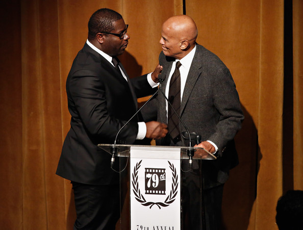 Director Steve McQueen and actor Harry Belafonte attend the 2013 New York Film Critics Circle awards at The Edison Ballroom on January 6, 2014 in New York City