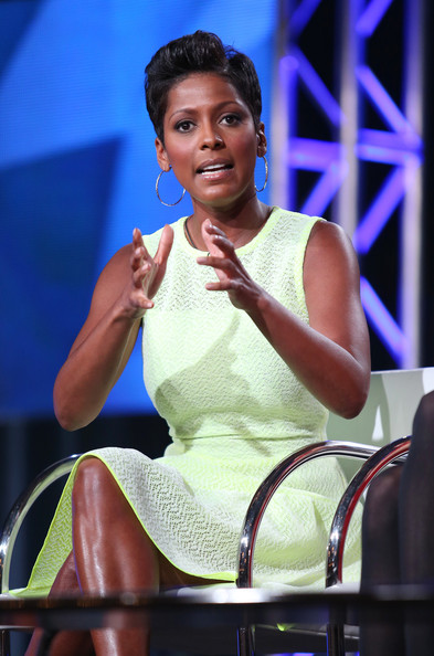 "Tamron Hall, Host of ""Deadline: Crime,"" speaks onstage during the 'Investigation Discovery - Deadline: Crime with Tamron Hall' panel at the Discovery Communications portion of the 2014 Winter Television Critics Association tour at the Langham Hotel on January 9, 2014 in Pasadena"
