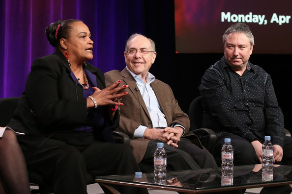 "(L-R) Khalilah Camacho-Ali, New York Times sports writer Robert Lipsyte and filmmaker Bill Siegel speak onstage during the ' Independent Lens/""Trials of Muhammad Ali"" 'panel discussion at the PBS portion of the 2014 Winter Television Critics Association tour at Langham Hotel on January 21, 2014 in Pasadena, California"
