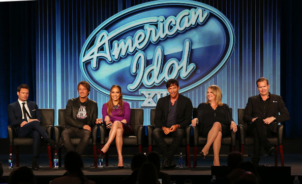 "(L-R) Ryan Seacrest, Keith Urban, Jennifer Lopez, Harry Connick, Jr., Trish Kinane and Per Blankens of the television show ""American Idol"" speak during the FOX portion of the 2014 Television Critics Association Press Tour at the Langham Hotel on January 13, 2014 in Pasadena, California"