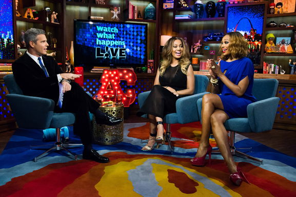 WATCH WHAT HAPPENS LIVE -- Episode 11016 -- Pictured: (l-r) Andy Cohen, LaLa Anthony, Cynthia Bailey -- (Photo by: Charles Sykes/Bravo)