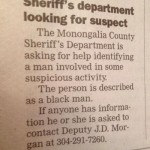 West Virginia Paper: 'Black Man' Wanted for 'Some Suspicious Activity'