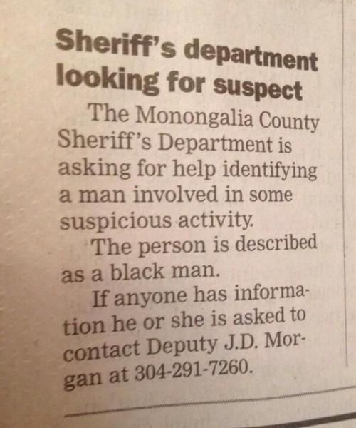 west virginia suspicious black man