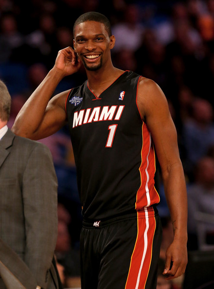 Eastern Conference All-Star Chris Bosh #1 of the Miami Heat walks off the court after the Sears Shooting Stars Competition 2014 as part of the 2014 NBA All-Star Weekend at the Smoothie King Center on February 15, 2014 in New Orleans, Louisiana