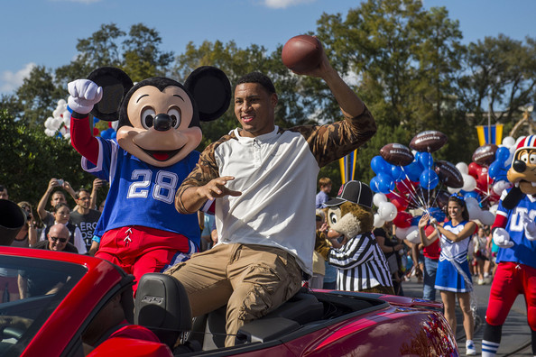 Super Bowl XLVII MVP Malcolm Smith of the Seattle Seahawks participates in his parade at the Magic Kingdom at Walt Disney World Resort on February 3, 2014 in Lake Buena Vista, Florida