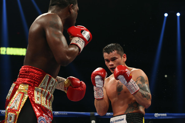 (L-R) Adrien Broner and Marcos Maidana during their WBA Welterweight Title bout at Alamodome on December14, 2013 in San Antonio, Texas..