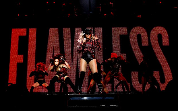 """Beyonce performs onstage on her """"Mrs. Carter Show World Tour 2014,"""" at the SSE Hydro in Glasgow"""