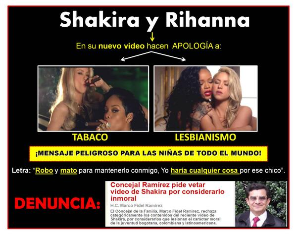 Colombian councilman Marco Fidel Ramirez wants to ban Shakira's video and invested in this poster