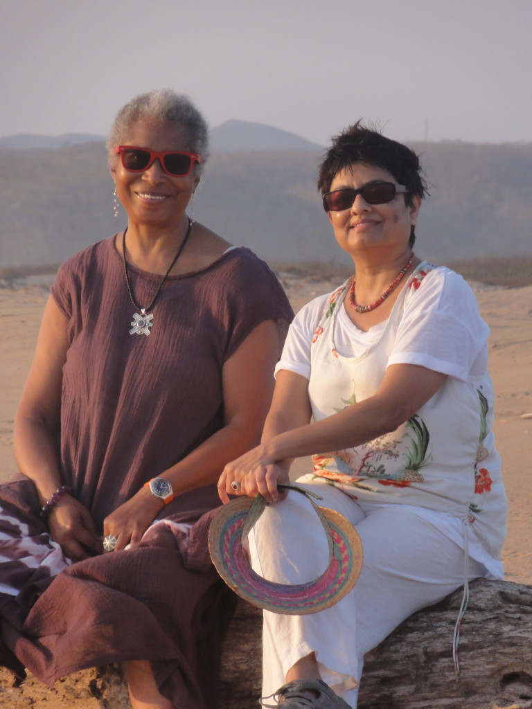 Alice Walker and Director Pratibha Parmar on location in Mexico. Photo credit: Shaheen Haq