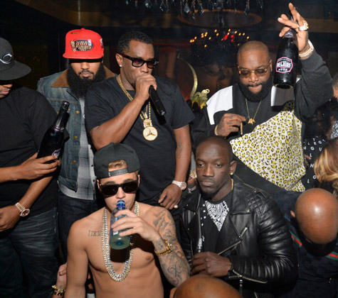Justin Bieber parties with Diddy and Rick Ross in Atlanta