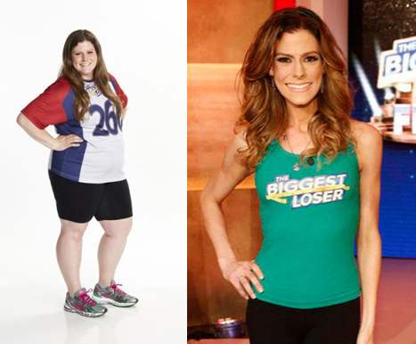 Rachel Frederickson at the start of the season (left), and at the season finale