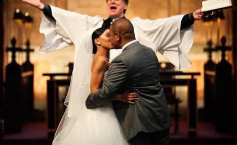 black couple - wedding