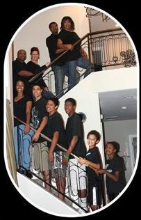 black people on stairway