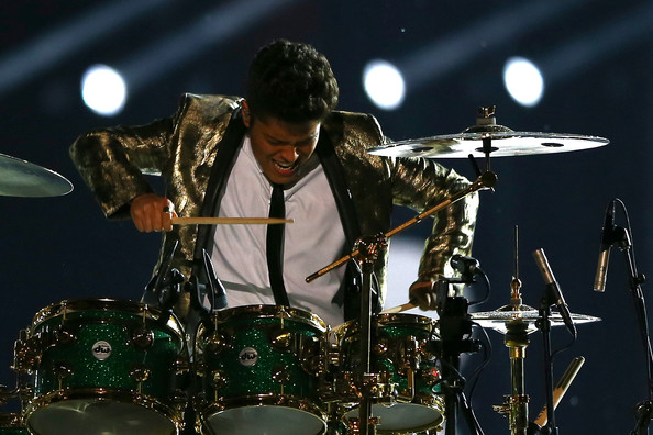 Bruno Mars performs during the Pepsi Super Bowl XLVIII Halftime Show at MetLife Stadium on February 2, 2014 in East Rutherford, New Jersey