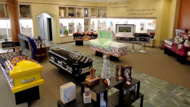 casket in showroom