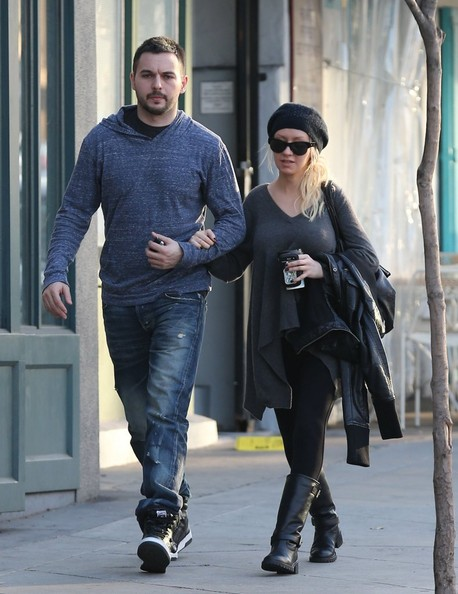 Singer and TV personality Christina Aguilera does some shopping for books with her boyfriend Matthew Rutler at Book Soup in West Hollywood, California on January 8, 2014