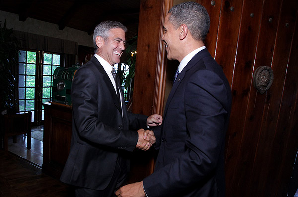 George Clooney and President Barack Obama at the actor's fundraiser for the U.S. leader's re-election campaign at his home in Studio City, near Los Angeles, on May 10, 2012.