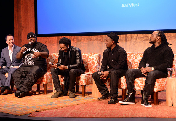 Executive producer Andrew Jameson, Ceelo Green, Big Gipp, T-Mo, and Khujo of Goodie Mob speak on the panel at the Prime-time Series Screening: TBS Presents 'CeeLo Green's The Good Life' at SCADshow Main Stage on February 7, 2014 in Atlanta