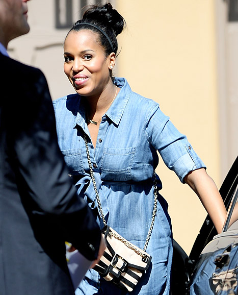 Kerry Washington was all smiles at her baby shower at Shonda Rhimes' home on Feb. 23