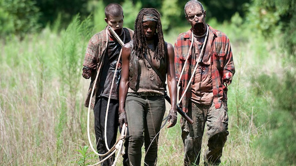 "Michonne (Danai Guiria) and her new ""pets"" on AMC's ""The Walking Dead"""