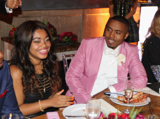 Nas with his daughter Destiny at his 40th birthday party
