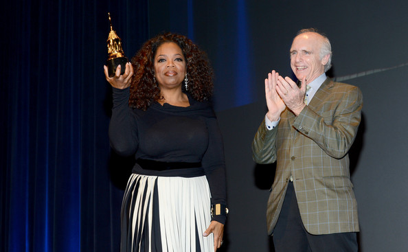 Oprah Winfrey and Jeff Barbakow speak at the 29th Santa Barbara International Film Festival Montecito Award to Oprah Winfrey at the Arlington Theatre on February 5, 2014 in Santa Barbara, California