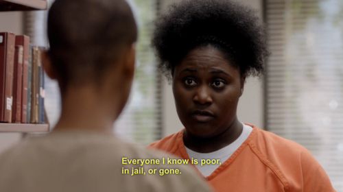 """Danielle Brooks as Taystee (R) and Samira Wiley as Poussey in the Netflix drama """"Orange is the New Black"""""""
