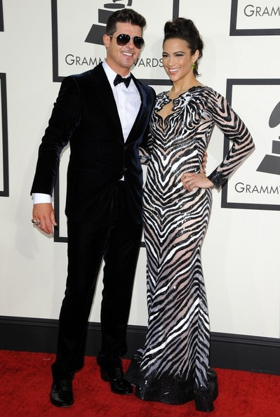 Robin Thicke and Paula Patton arrive at the 56th annual Grammy Awards at the Staples Center in Los Angeles. (January 26, 2014)