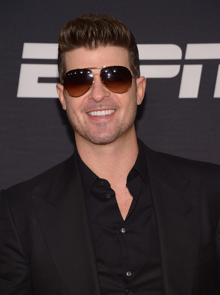 Robin Thicke attends the ESPN The Party at Basketball City - Pier 36 - South Street on January 31, 2014 in New York City
