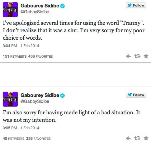 sidibe twitter tranny apology