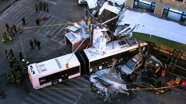 stolen truck bus crash nyc