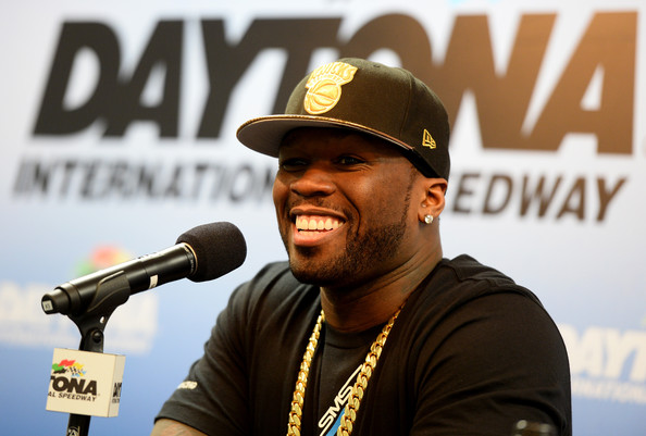 """Curtis """"50 Cent"""" Jackson speaks at a press conference following practice for the NASCAR Sprint Cup Series Daytona 500 at Daytona International Speedway on February 22, 2014 in Daytona Beach, Florida"""
