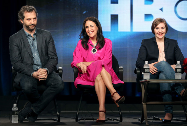 (L-R) Executive Producer Judd Apatow, Executive Producer Jenni Konner and Creator/Executive Producer/Actress Lena Dunham speak onstage during the 'Girls' panel discussion at the HBO portion of the 2014 Winter Television Critics Association tour at the Langham Hotel on January 9, 2014 in Pasadena, California.