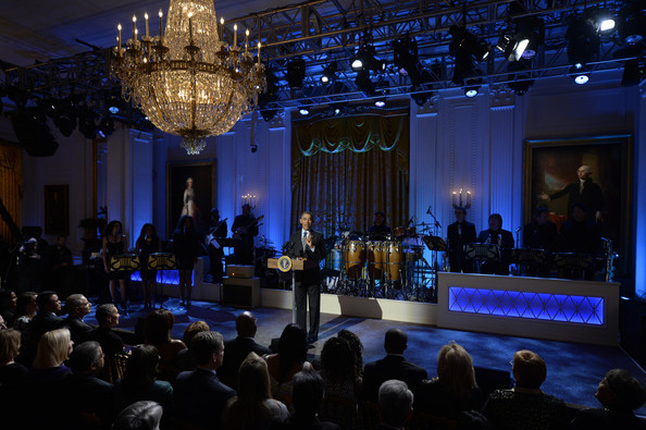 President Barack Obama delivers remarks while hosting the event, 'In Performance at the White House - Women of Soul', on March 6, 2014 in the East Room of the White House in Washington DC.