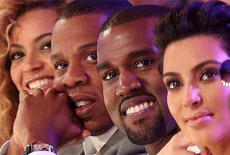 Beyonce, Jay Z, Kanye West and Kim Kardashian