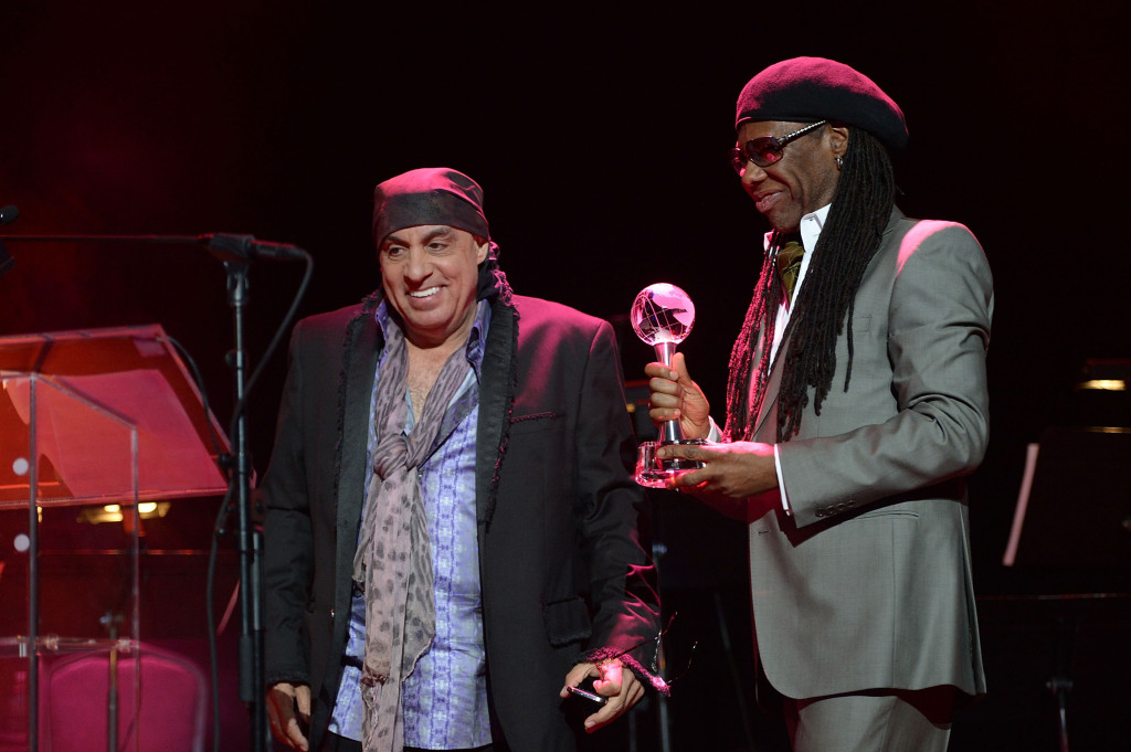 Founder of the We Are Family Foundation musician (R) Nile Rodgers presents Musician (L) Steven Van Zandt the We Are Family Foundation Humanitarian Award during We Are Family Foundation 2014 Gala at Hammerstein Ballroom on March 6, 2014 in New York City.  (Photo by Shahar Azran/FilmMagic)