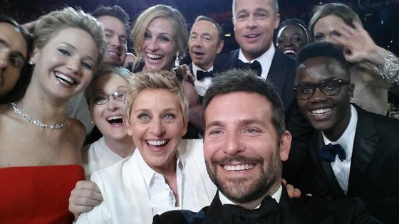 (L-R bottom) Jared Leto, Jennifer Lawrence, Meryl Streep, Ellen DeGeneres,Bradley Cooper, Peter Nyong'o, (R-L top) Angelina Jolie, Brad Pitt,Julia Roberts, unknown,), L-R back: Kevin Spacey, Lupita Nyong'o