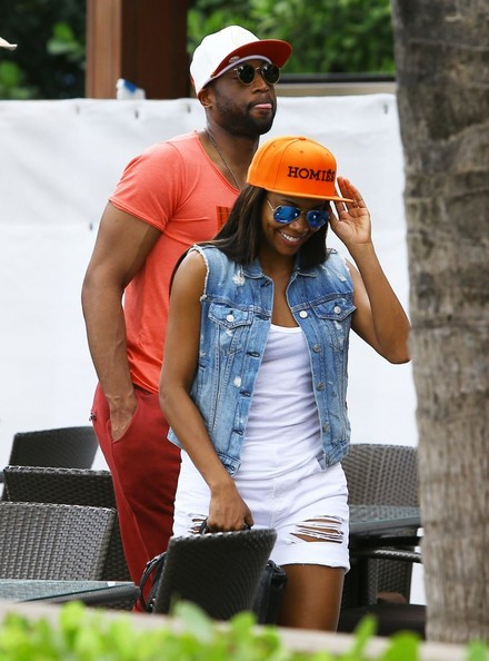 NBA star Dwyane Wade lunches with his wife to be Gabrielle Union in Miami, Florida on February 26, 2014